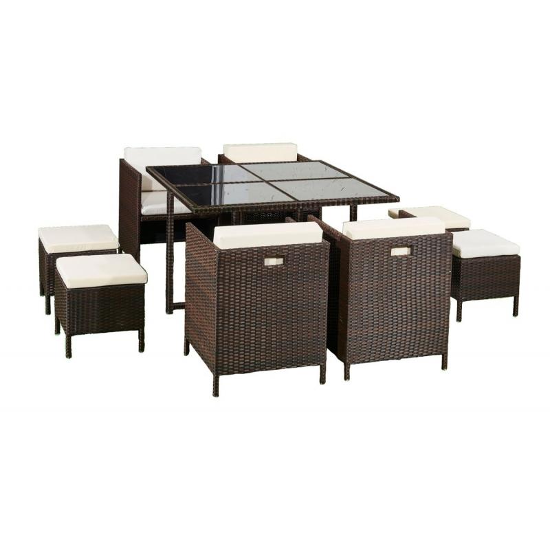pintas lauko baldų komplektas, su stalu, modernaus dizaino, talpina iki 8 žmonių