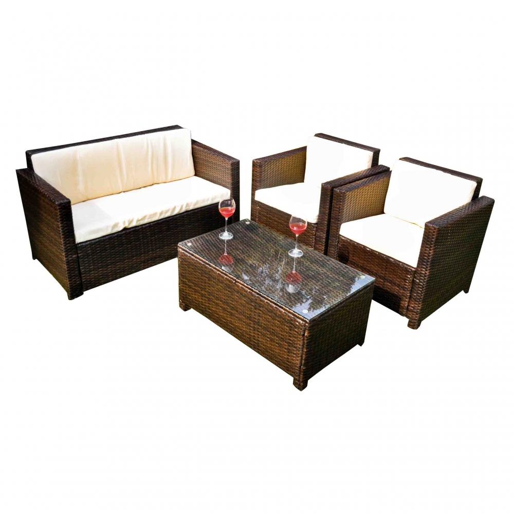 Lauko baldų komplektas CALM stiliaus, modernaus dizaino, sintetinis PE ratanas