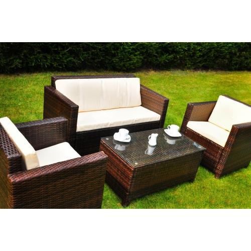 pintas lauko baldų komplektas, tamsiai rudos spalvos, su paminkštinimais ant kėdžių