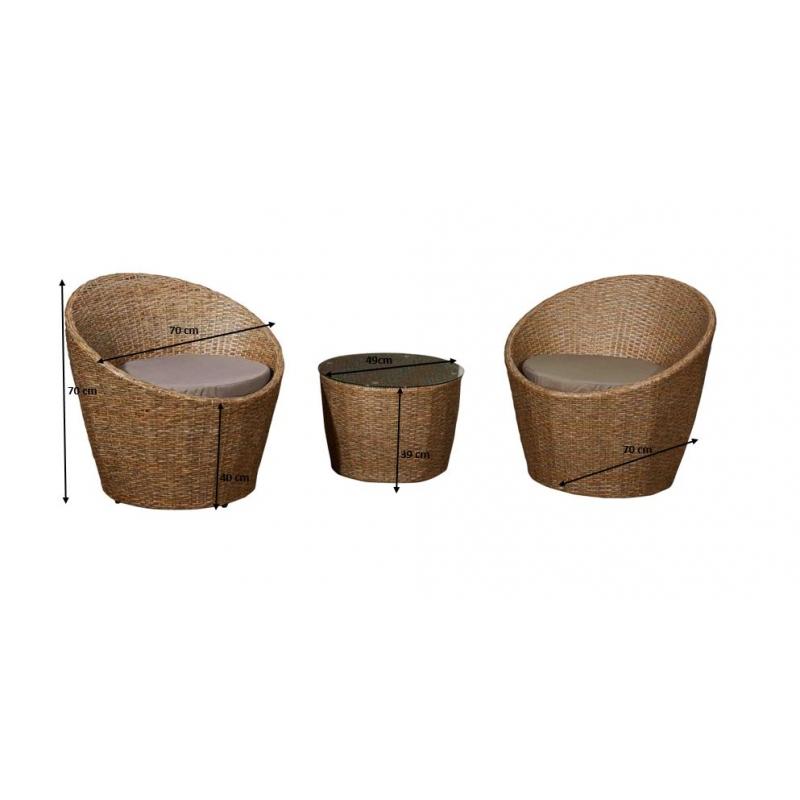 Lauko baldų komplektas MODI stiliaus, su stiklintu staliuku, su pagalvėm