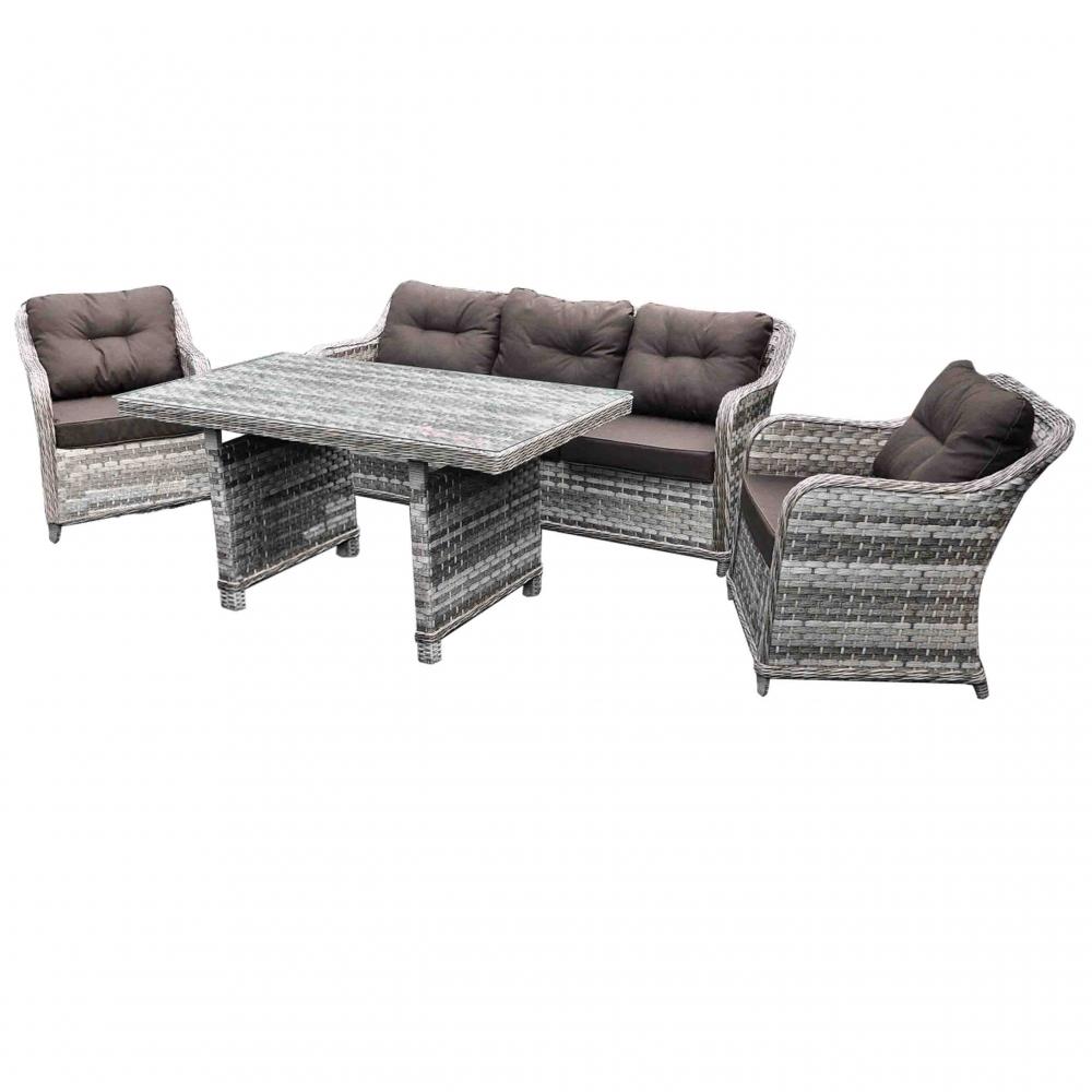 elegantiškas lauko baldų komplektas, su paminkštinimais, tamsiai pilkos ir bordinės spalvos