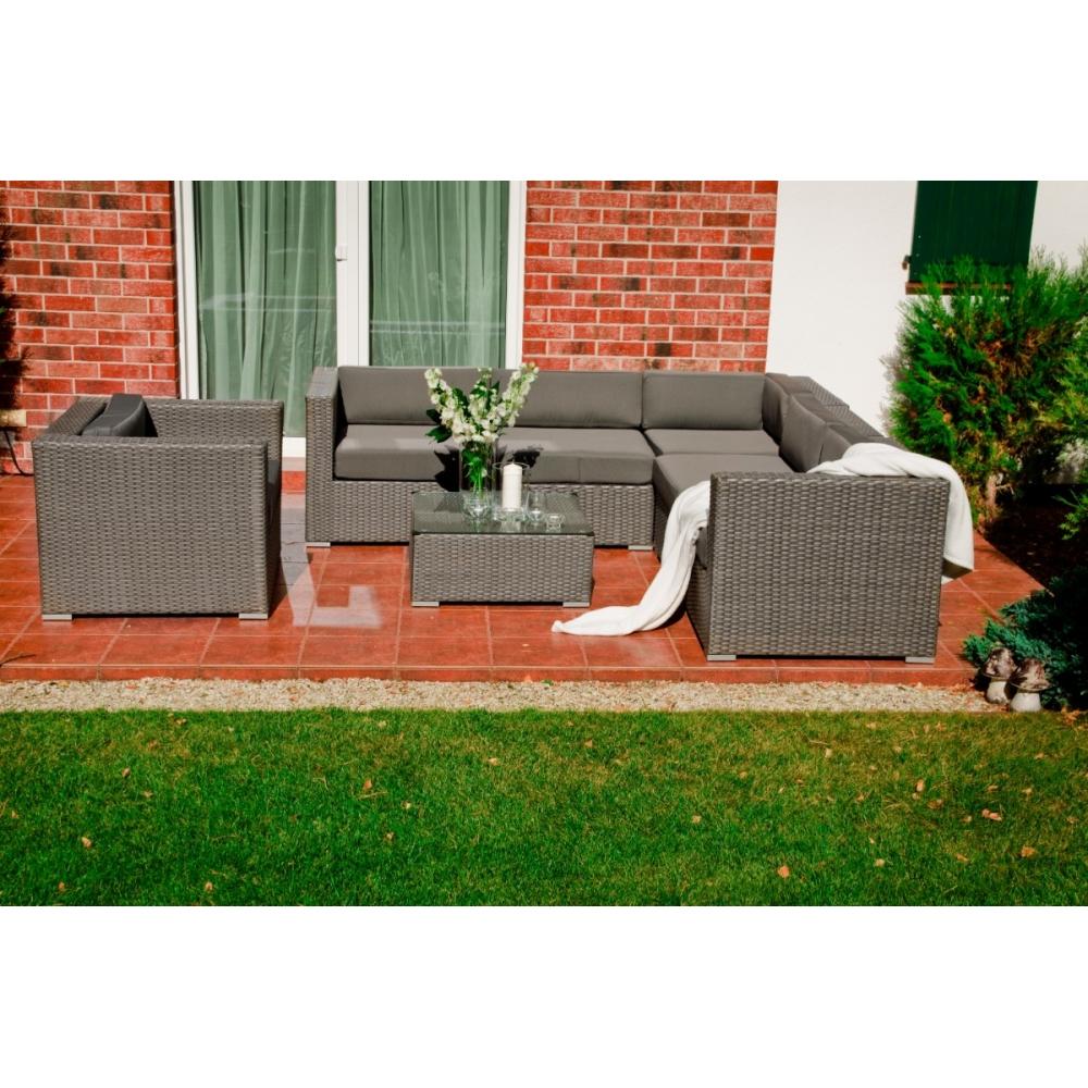 elegantiškas lauko baldų komplektas, tamsiai pilkos spalvos, Modulinė rinkinio struktūra