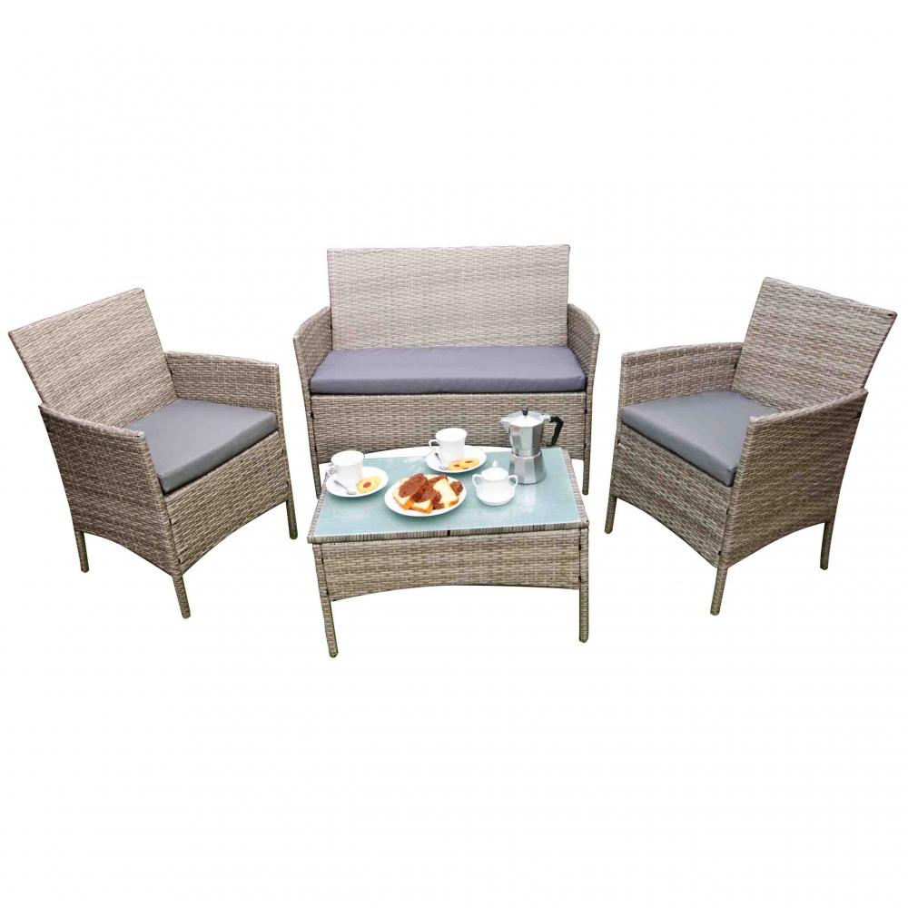 elegantiškas lauko baldų komplektas, su paminkštinimais, šviesiai rudos spalvos