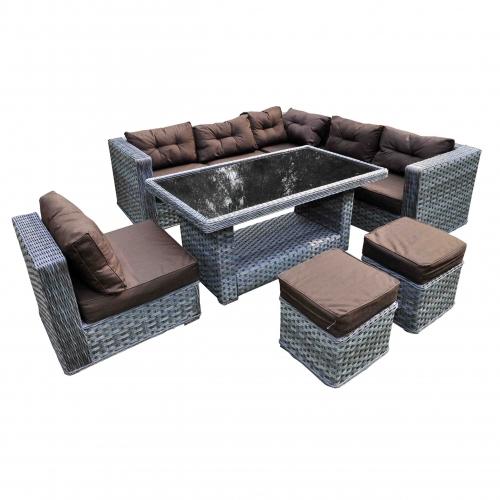 elegantiškas lauko baldų komplektas, iš PE ratano, tamsiai pilkos, rudos spalvos