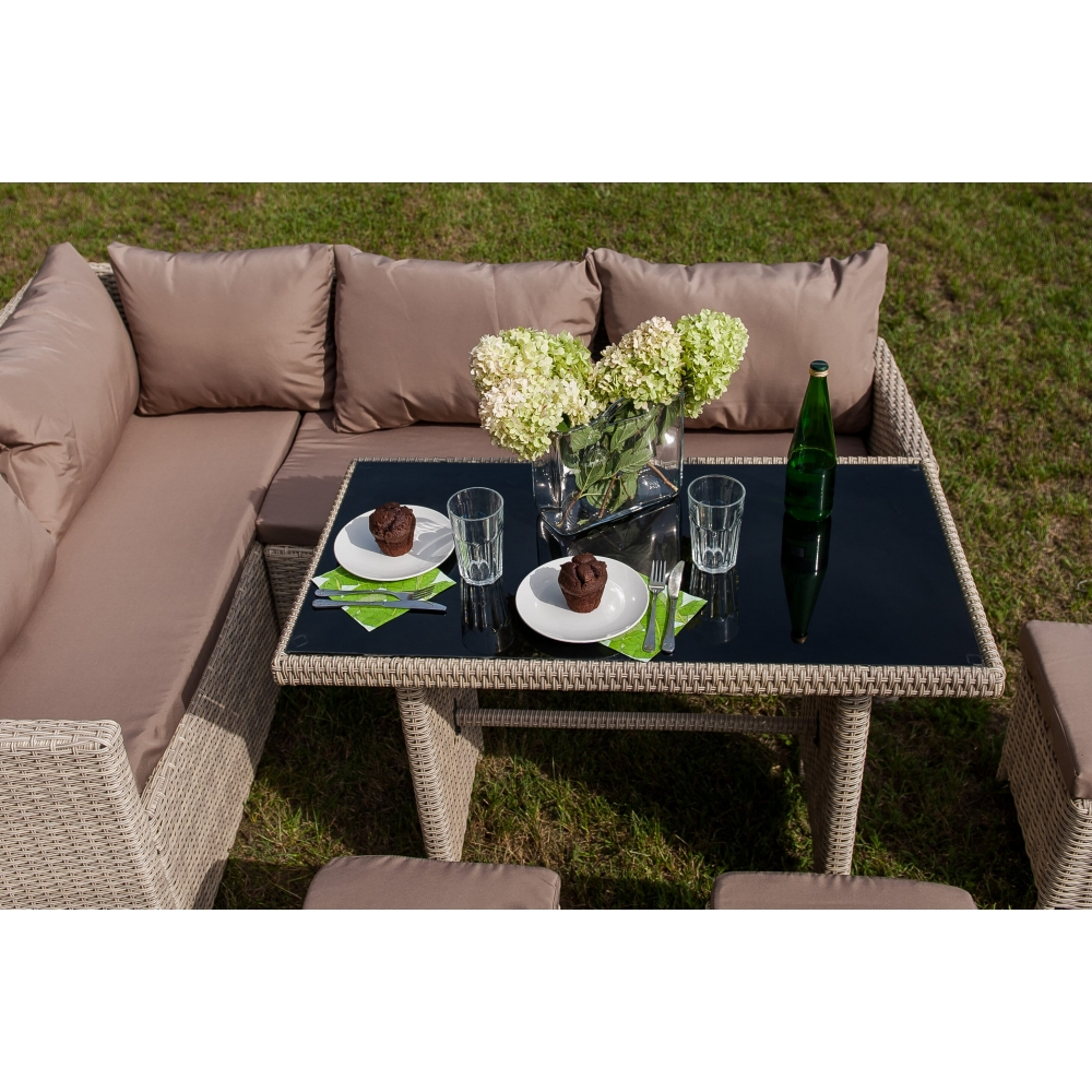 modernaus dizaino lauko baldų komplektas, pintas, šviesiai rudos spalvos