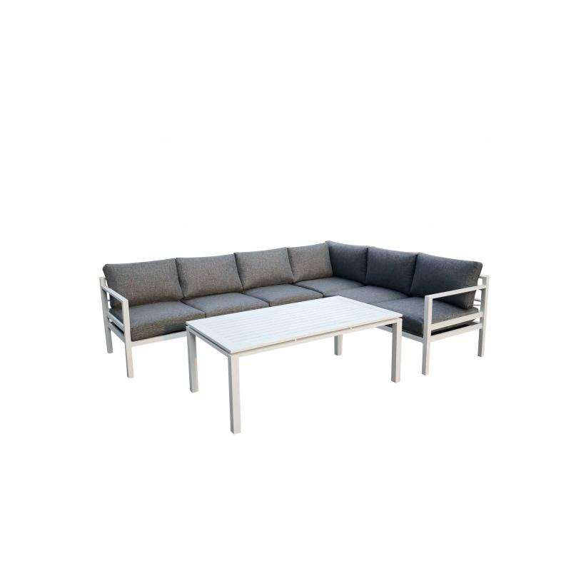 Lauko baldų komplektas su staliuku, tamsiai pilkos spalvos, minimalistinis