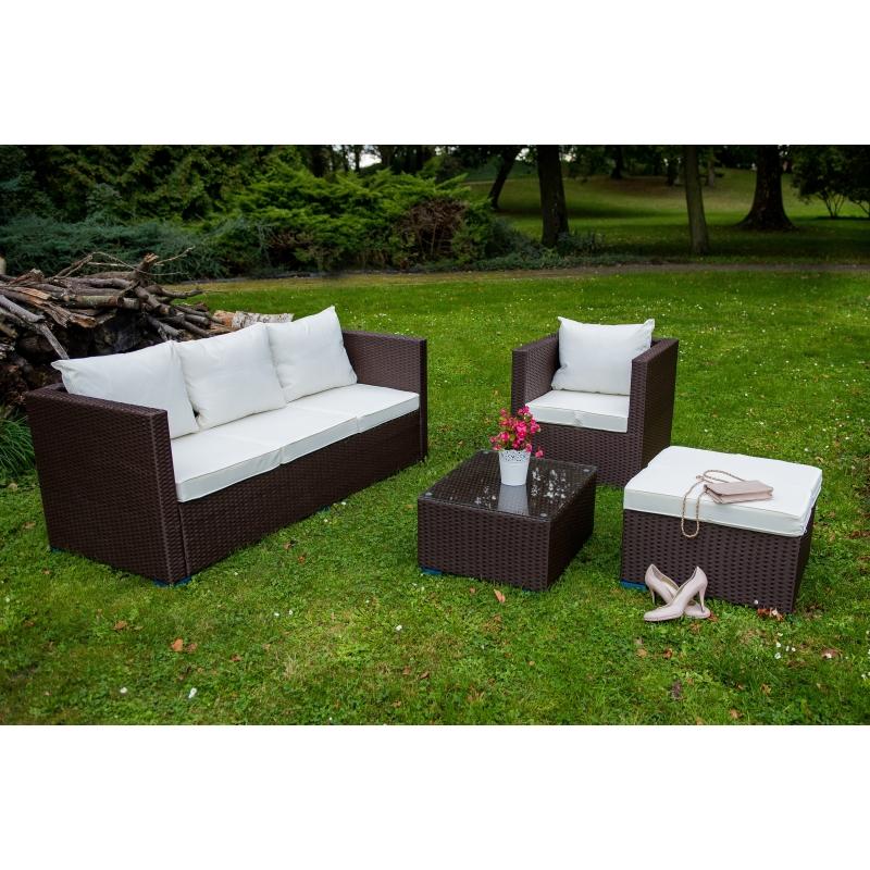elegantiškas lauko baldų komplektas, tamsiai rudos medžio spalvos, Modulinė rinkinio struktūra