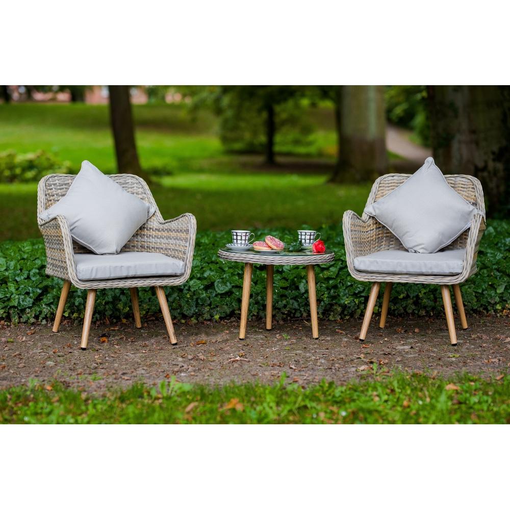 pintas lauko baldų komplektas, šviesiai pilkos spalvos, su paminkštinimais ant kėdžių