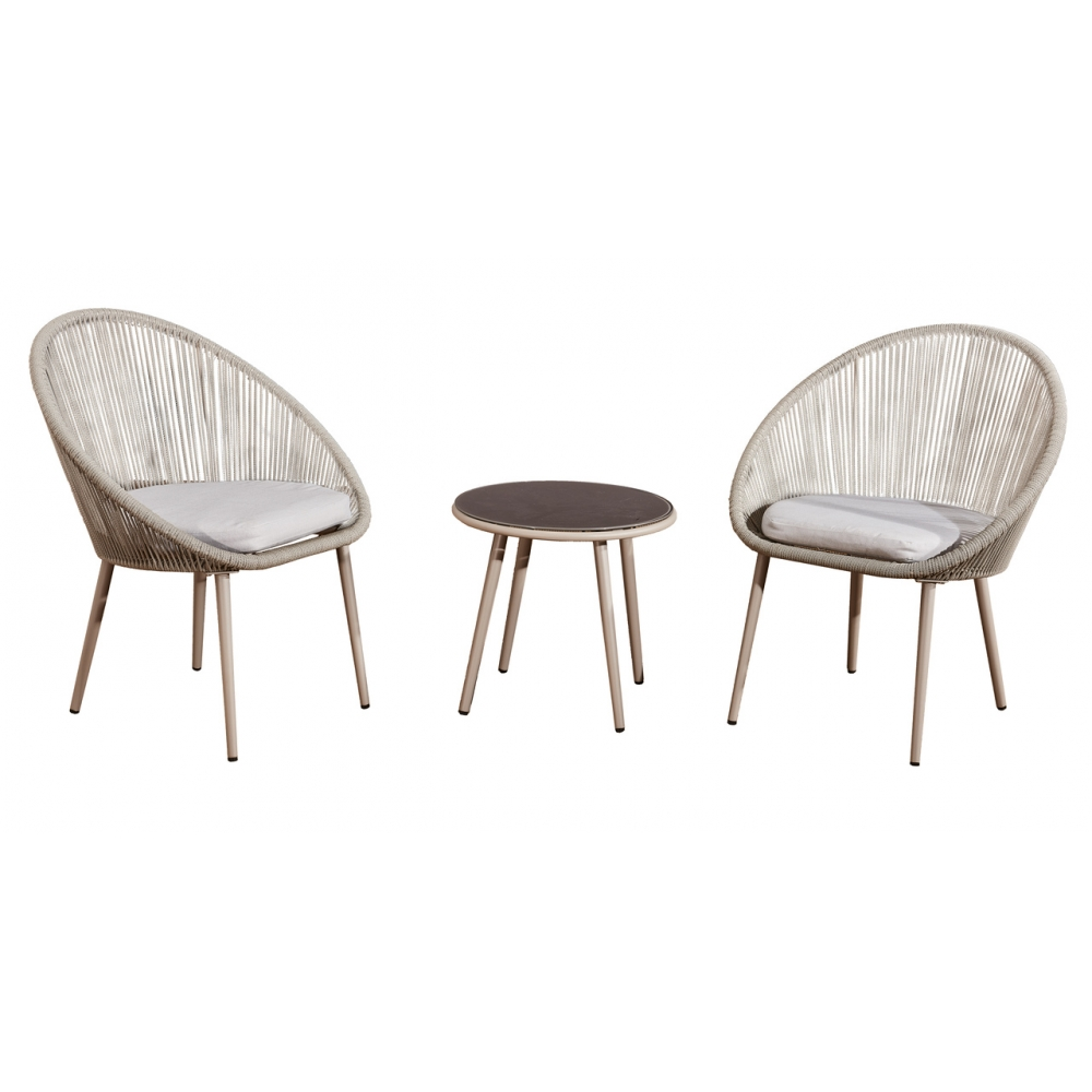 elegantiškas lauko baldų komplektas, prabangaus dizaino, baltos spalvos