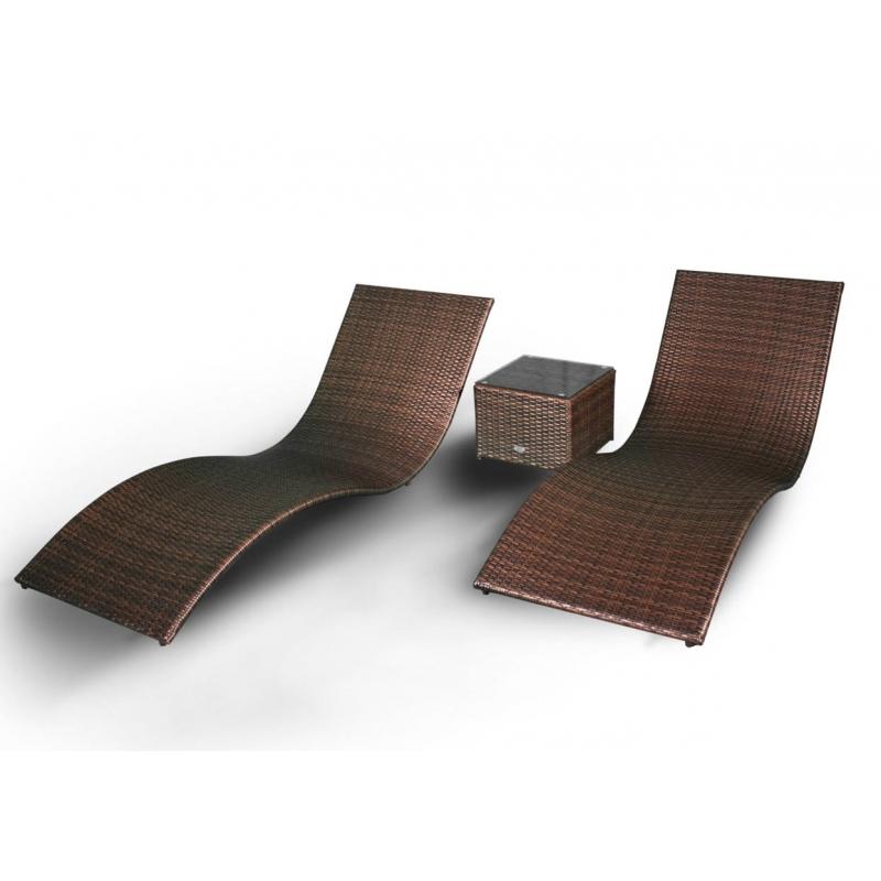 SUSS BROWN stiliaus lauko gultų komplektas, išskirtinio stiliaus, dviejų lauko gultų