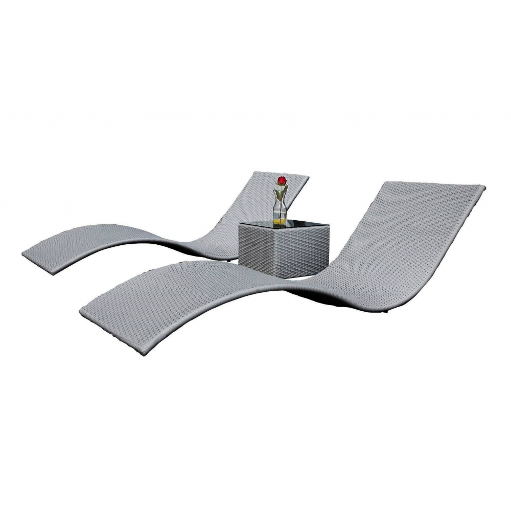 SUSS GRAY stiliaus lauko gultų komplektas, išskirtinio stiliaus, dviejų lauko gultų