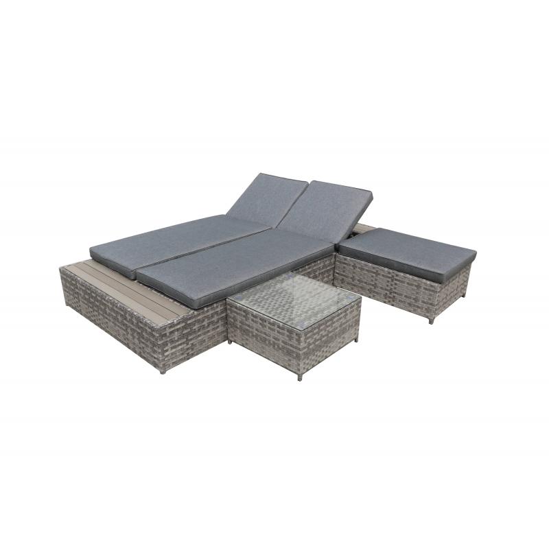 Lauko lova su staliuku ir pufu DIA stiliaus, modernaus dizaino, kokybišku apdirbimu