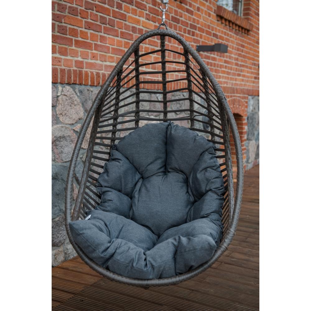 futuristinio dizaino krėslas-kokonas, iš sintetinio ratano, su pagalvėm, medinis