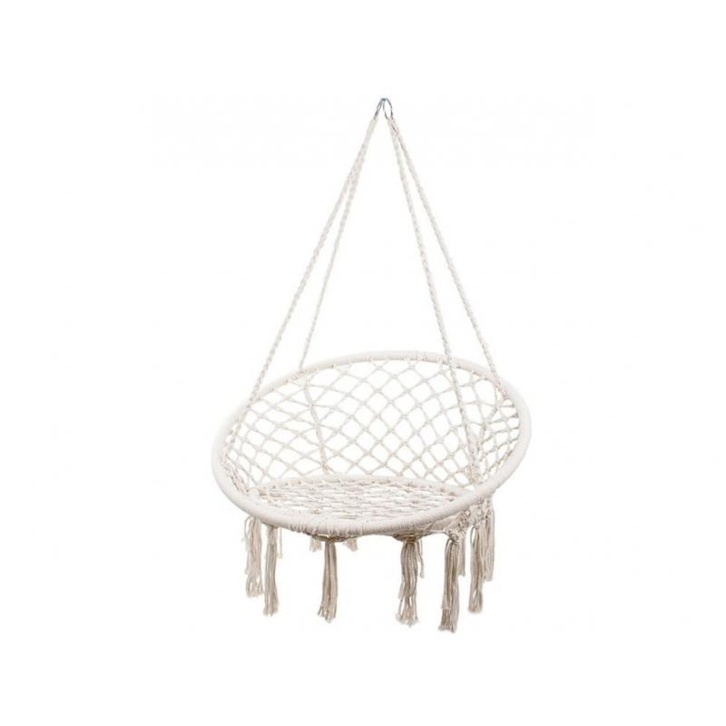 Klasikinio dizaino pakabinamas krėslas, elegantiško dizaino, naudojama pinta virvė