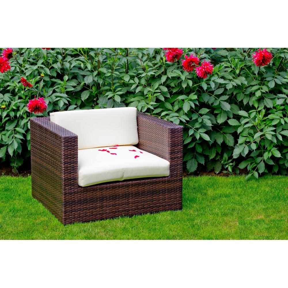 kvadratinis lauko fotelis, su pagalvėm, tamsiai rudos spalvos
