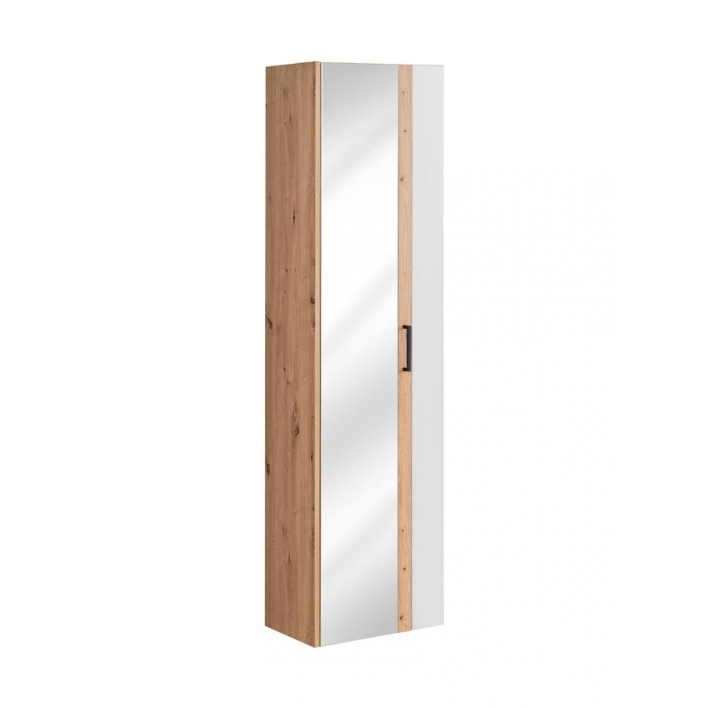Modernaus dizaino vonios spintelė, su veidrodžiu, atvira lentyna, Prabangi, matinės baltos spalvos