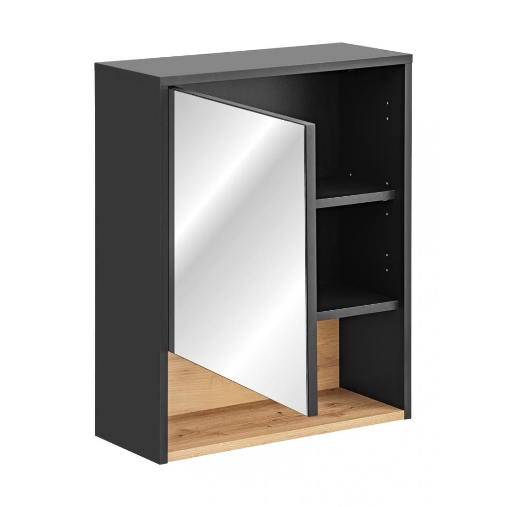 Minimalistinio stiliaus veidrodis-spintelė, medinis, su durelėmis