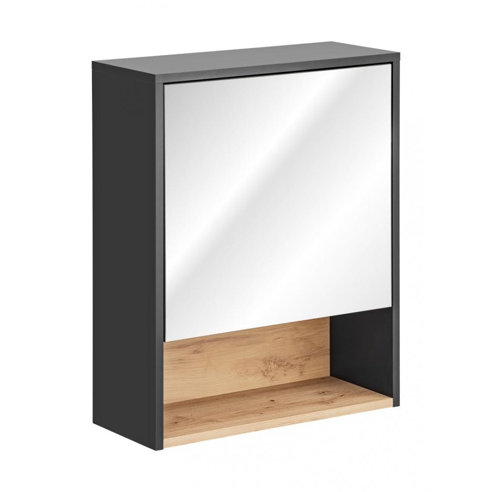 BORNO stiliaus Pakabinamas veidrodis-spintelė, futuristinis, matinės pilkos spalvos