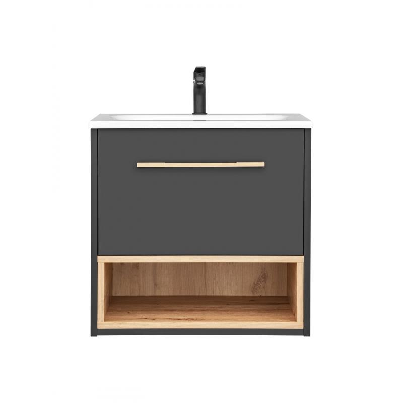 """Minimalistinio stiliaus vonios spintelė su praustuvu, su """"softclose"""" tylaus uždarymo sistema, tamsių spalvų"""