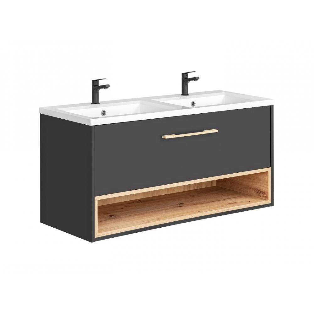 BORNO stiliaus vonios spintelė su dviejais praustuvais, pakabinama, matinės pilkos spalvos