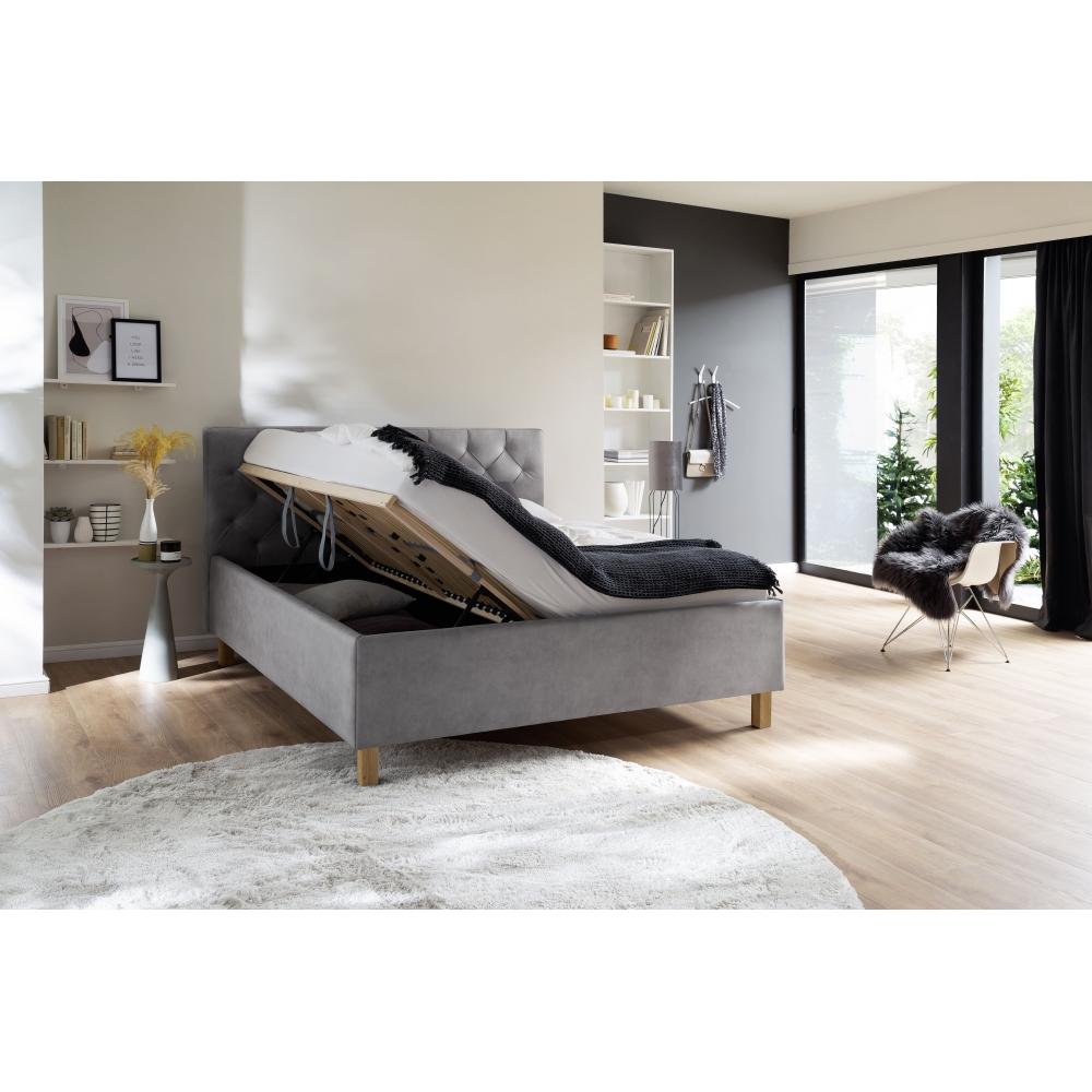 160 cm lova, siuvinėtu galvūgaliu, su grotelėmis ir natūralaus medžio ąžuolinėmis arba metalinėmis kojelėmis