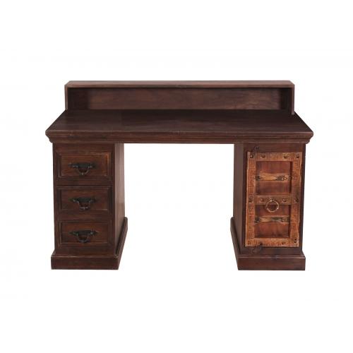 atikvarinio stiliaus darbo stalas, rudas, indiško stiliaus