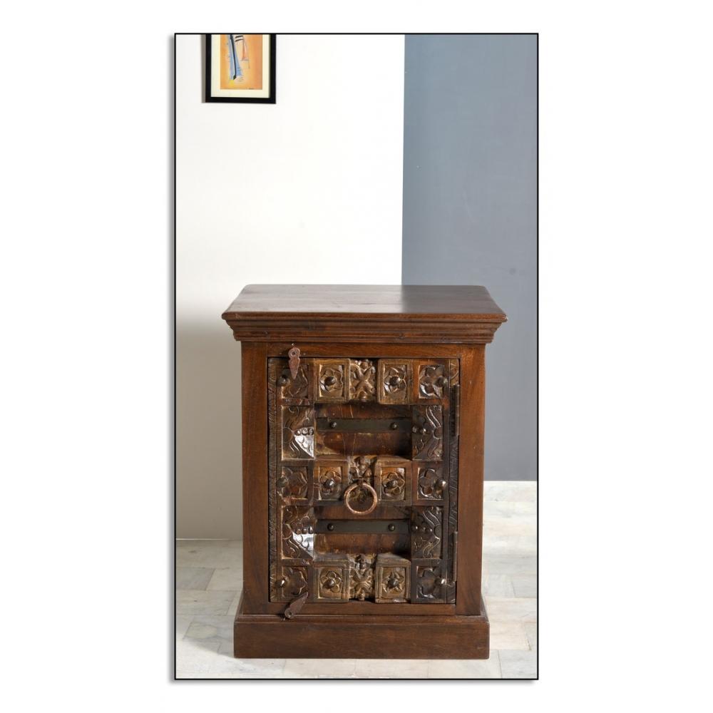 antikvarinio stiliaus naktinis staliukas, stilingas, rudas