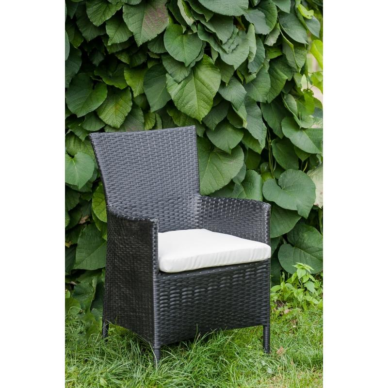 Lauko kėdė juodos spalvos, su atlošu ir porankiais, su pagalve