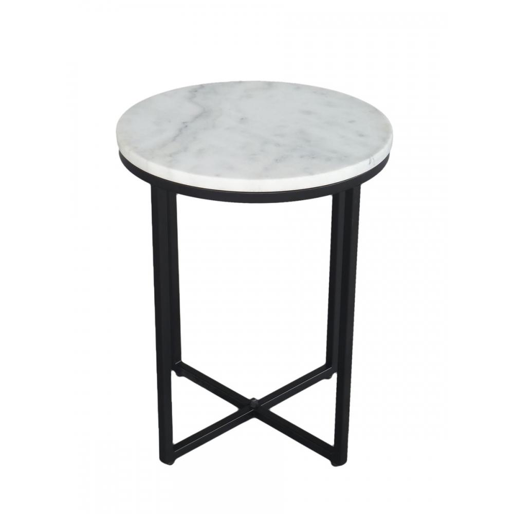 Prabangus naktinis staliukas, apvalus, su natūralaus marmuro stalviršiumi