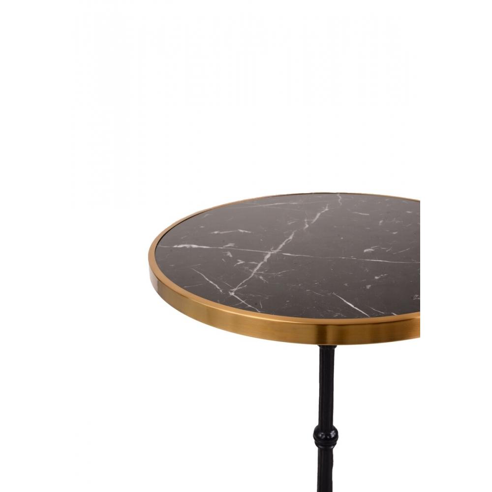 apvalus staliukas, bistro, su natūralaus marmuro ir žalvario stalviršiumi, metaline ketaus koja