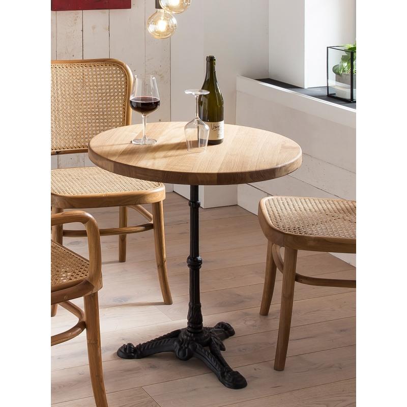 natūralaus ąžuolo stalas, su metaline ketaus koja, juodos spalvos koja