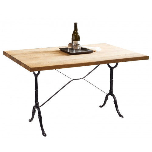 Natūralaus ąžuolo stalas, su metalinėmis dekoruotomis ketaus kojomis, prabangaus stiliaus