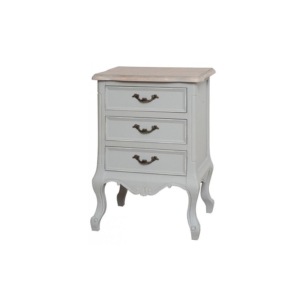 Naktinis staliukas / komodėlė CATANIA - medinis provanso stiliaus pilkas staliukas prie lovos