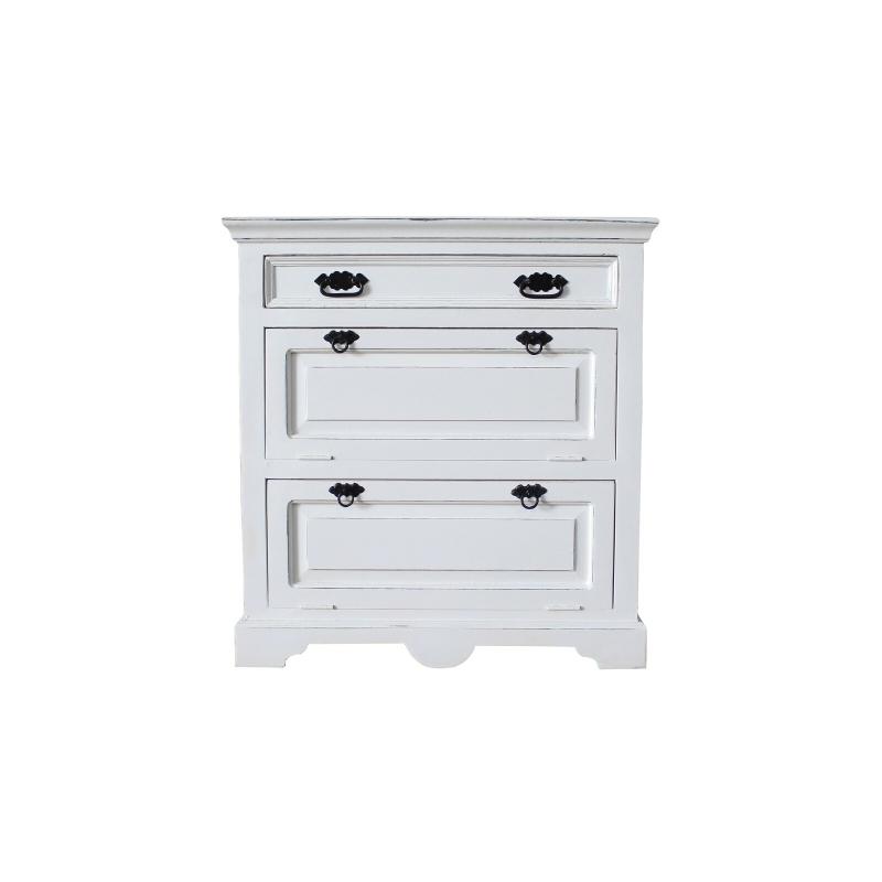 Balta batų dėžė, sendinta klasikinio stiliaus, medinė
