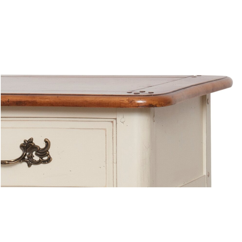 senovinio stiliaus makiažo staliukas, rudu stalviršiumi