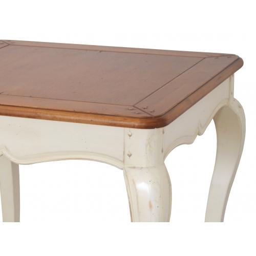 Medinis žurnalinis staliukas, baltos spalvos, antikvarinio stiliaus