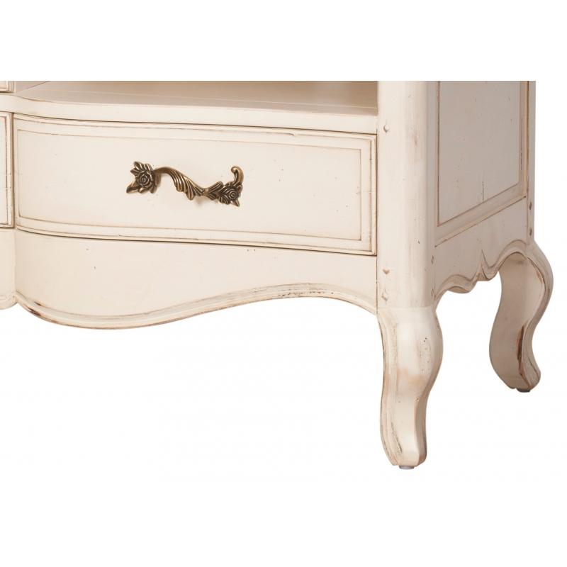 TV staliukas su trimis stalčiais, baltos spalvos, antikvarinio dizaino