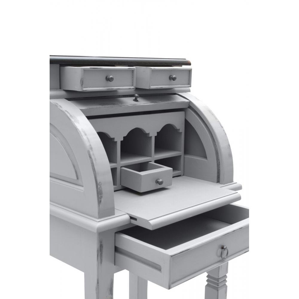 pilkos spalvos makiažo stalas, taupe spalvos, medinis