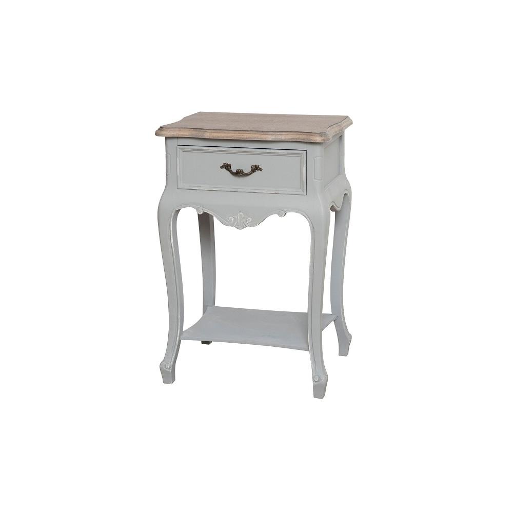 Naktinis staliukas / spintelė CATANIA - provanso stiliaus, išskirtinio dizaino baldas iš medžio ir pilkos spalvos