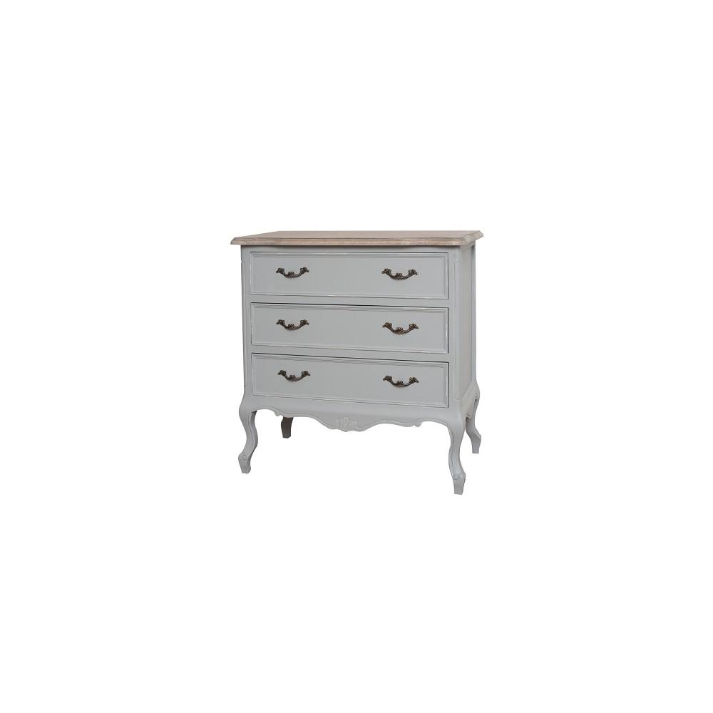 Naktinis staliukas / komodėlė CATANIA - provanso stiliaus medinė spintelė prie lovos su 3 dideliais stalčiais