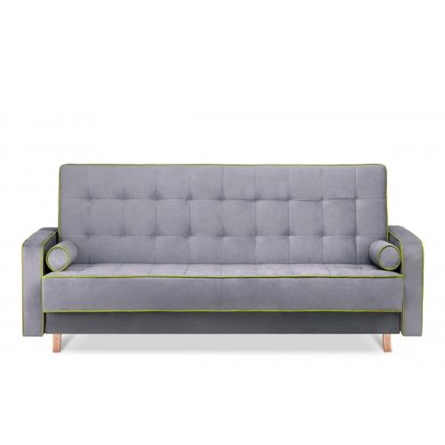 Sofa DOZ, pilka/žalia, 223x93x85 cm