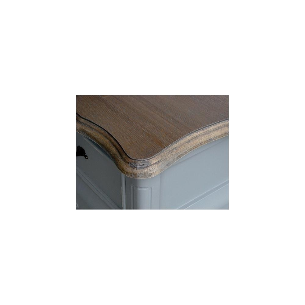 Komoda CATANIA - medinė provanso stiliaus pilkos spalvos komoda su stalčiais ir durelėmis