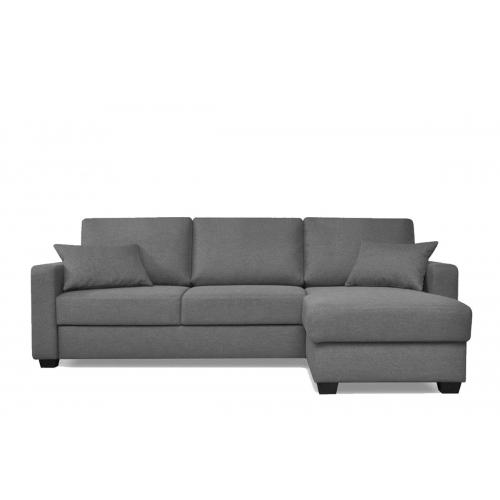 Minkštas kampas JUGA, tamsiai pilkas, kairinis/dešininis, 241x162x86 cm