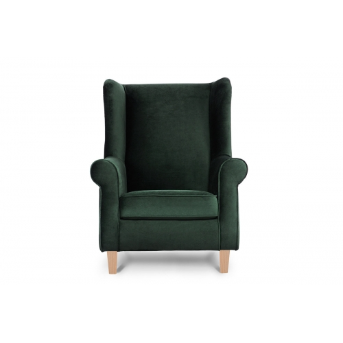 Fotelis MILE, žalias/medžio, 82x97x105 cm
