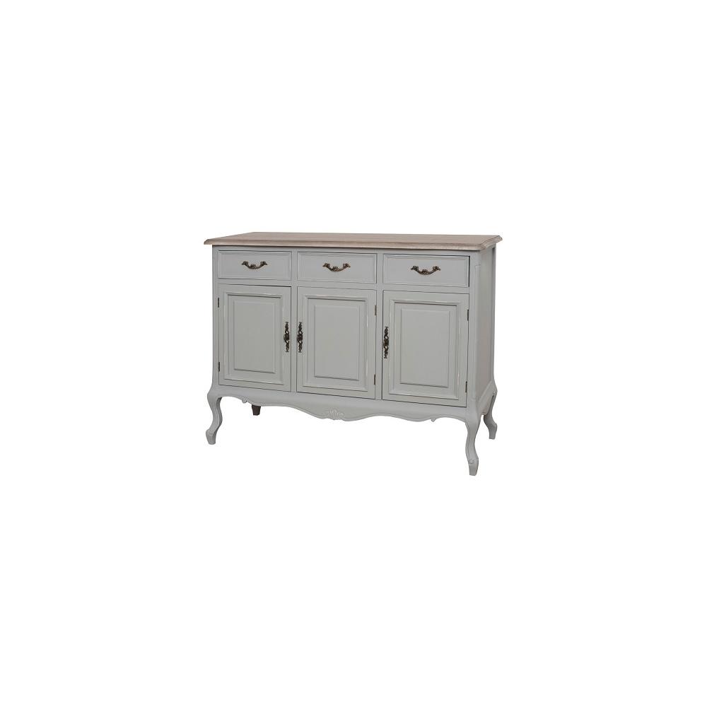Trijų durų spintelė CATANIA - provanso stiliaus, pastelinės pilkos spalvos medinė spintelė ant banguotų kojelių