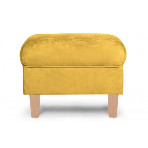 Pufas MILE, geltonas/medžio, 51x36x42 cm