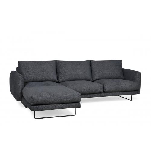 Minkštas kampas MINU, tamsiai pilkas, kairinis/dešininis, 272x175x84 cm