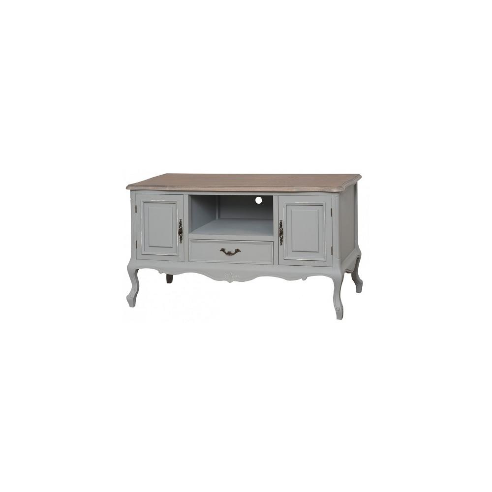 TV staliukas CATANIA - provanso stiliaus, šviesiai pilkos spalvos medinis TV staliukas ant kojelių, su durelėmis, stalčiumi