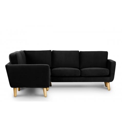 Minkštas kampas TAGO, juodas, kairinis/dešininis, 220x181x80 cm