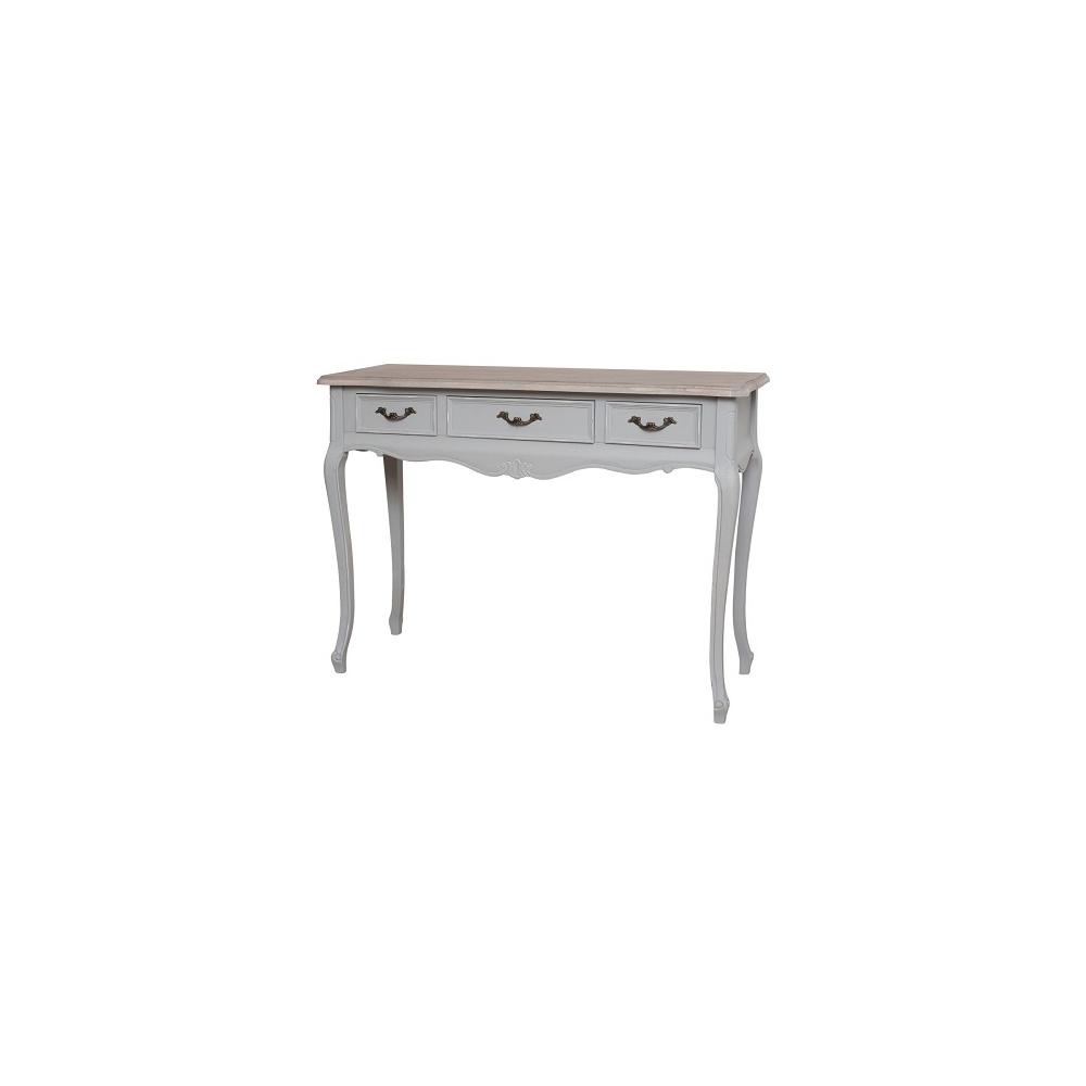 Konsolė / Kosmetinis staliukas CATANIA - provanso stiliaus šviesiai pilkos spalvos kosmetinis staliukas su 3 stalčiais